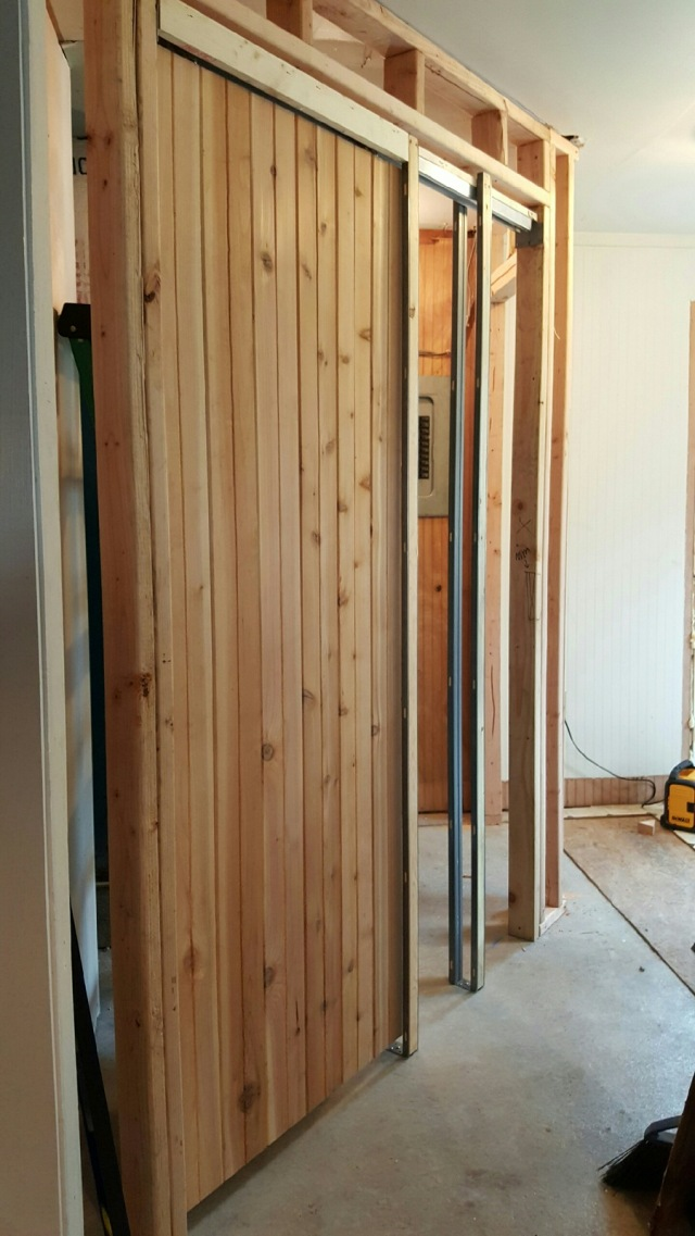 pocket door installation in existing wall. This Part Of The Laundry/mud Room Has Concrete Floor, So We Had To Make Tiny Walls Out 2×4\u0027s And Frame Two Doors (one For Pantry, Pocket Door Installation In Existing Wall S